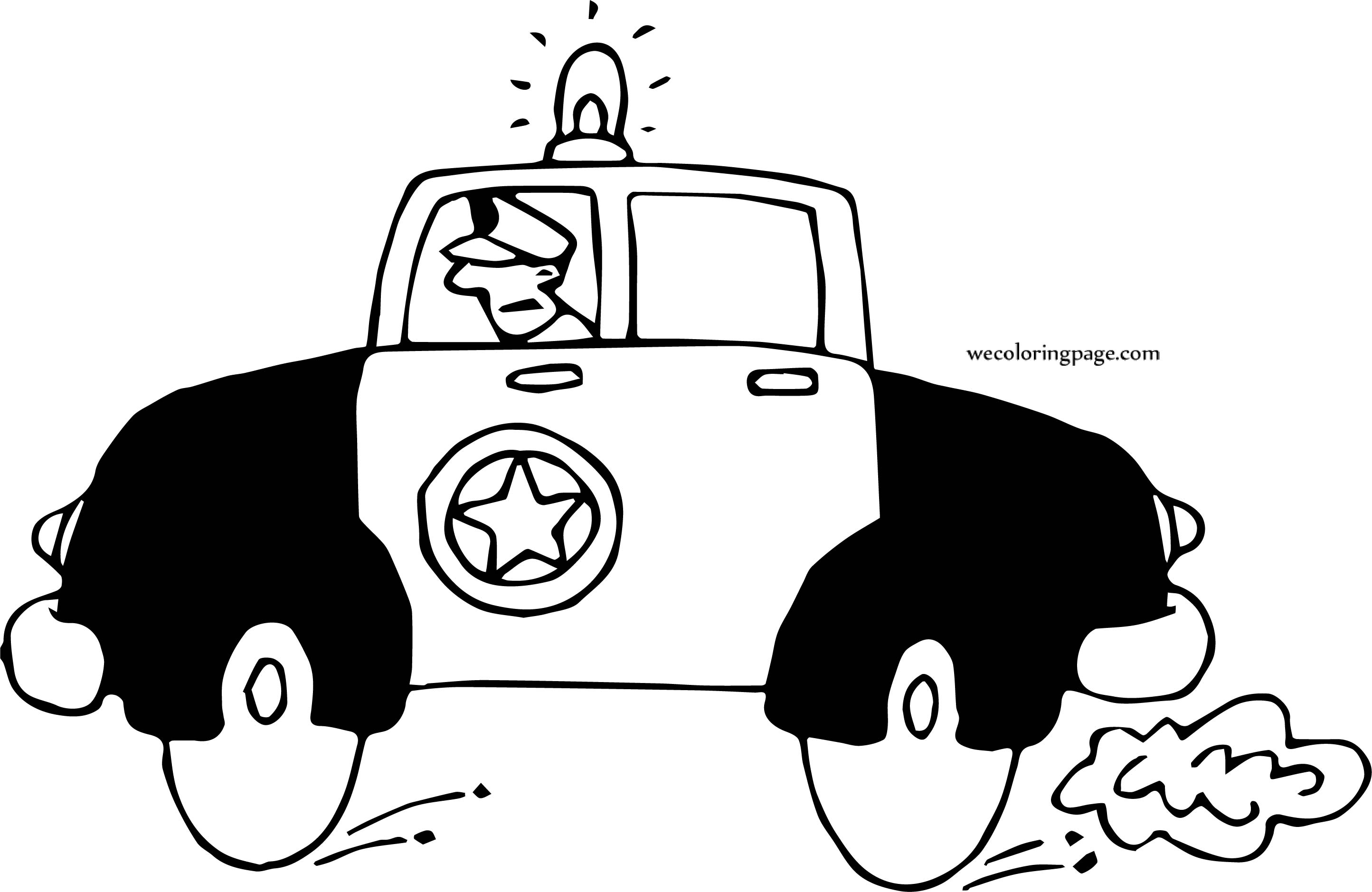 Police Car Side Going Coloring Page