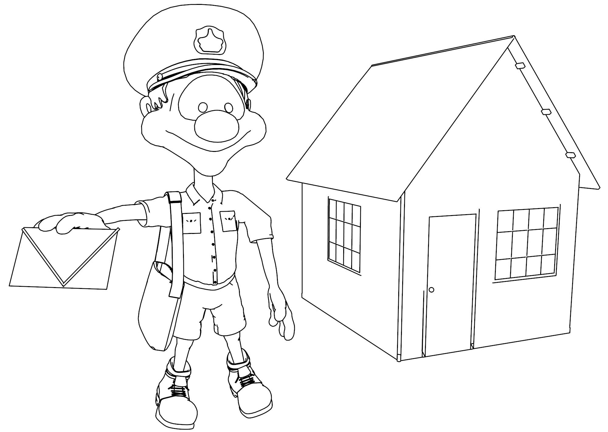 Post Man On The House Comic Cartoon Coloring Page