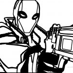 Red Hood Deadpool Gun Coloring Page