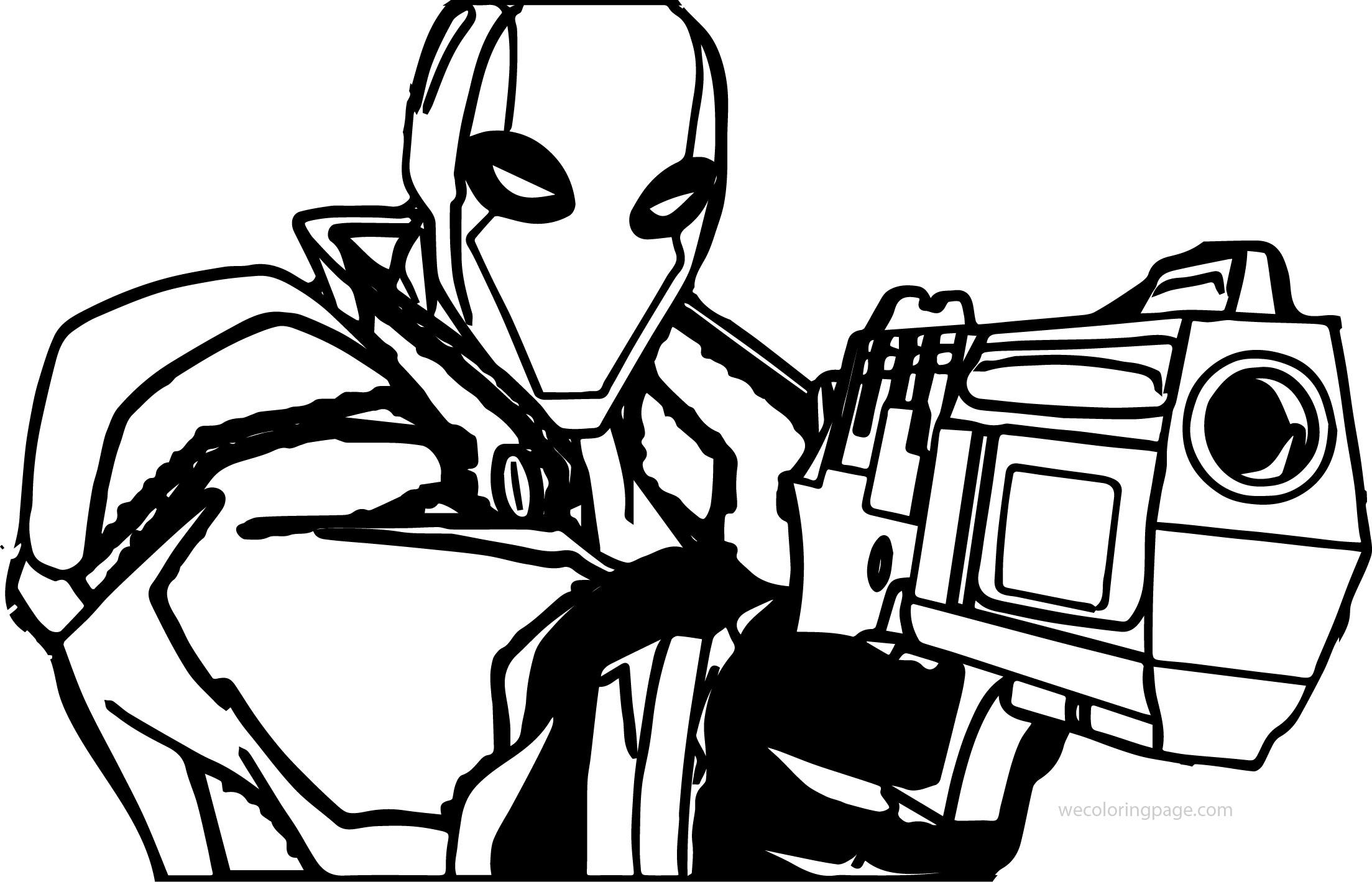 Red Hood Deadpool Gun Coloring Page