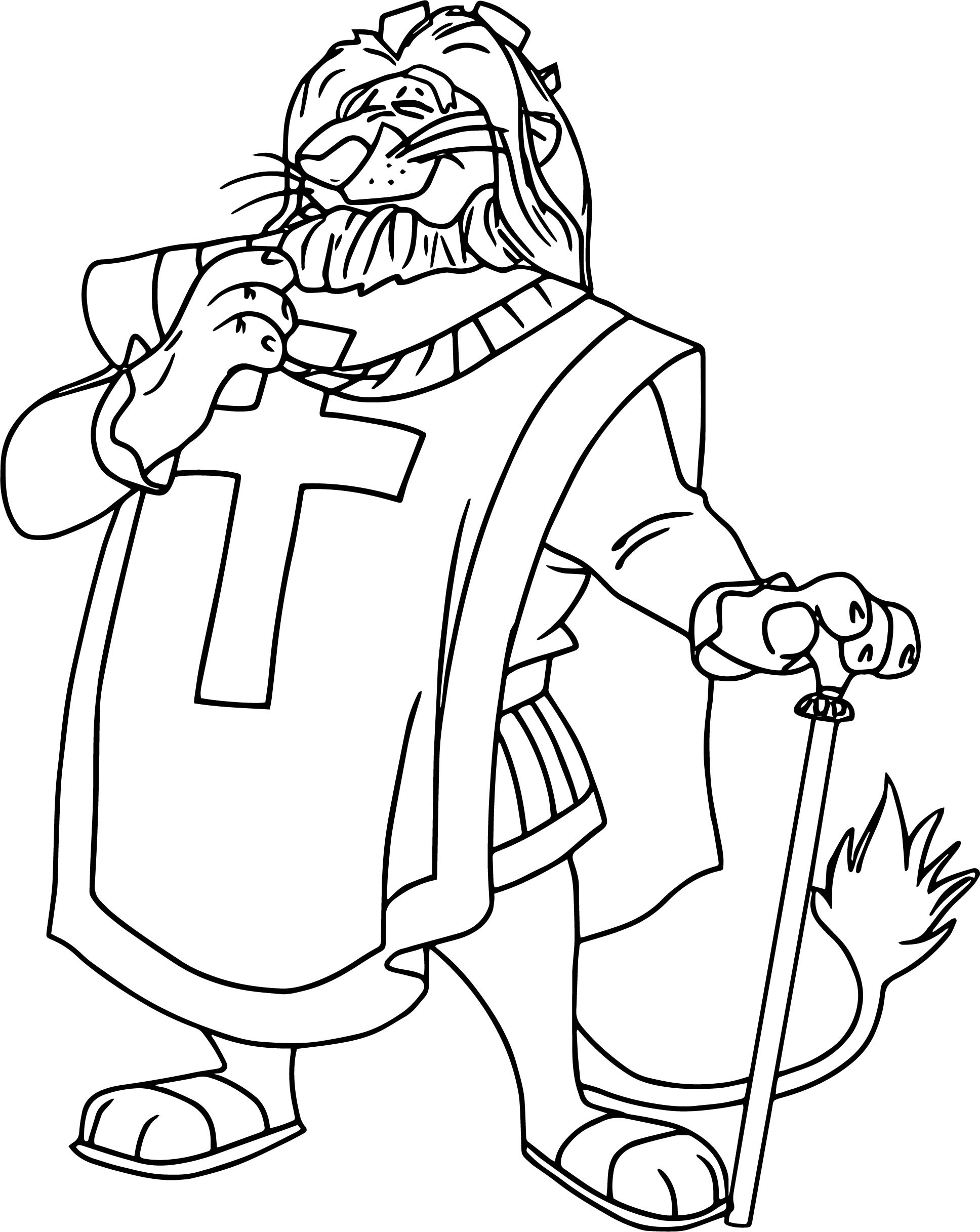 Robin Hood King Lion Coloring Page | Wecoloringpage.com