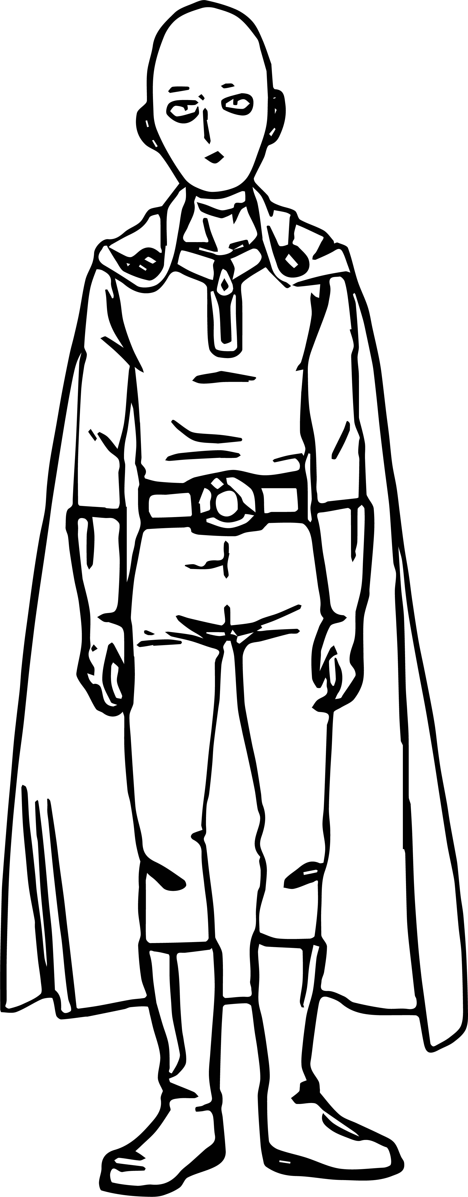 Saitama One Punch Man Anime Character Design Coloring Page