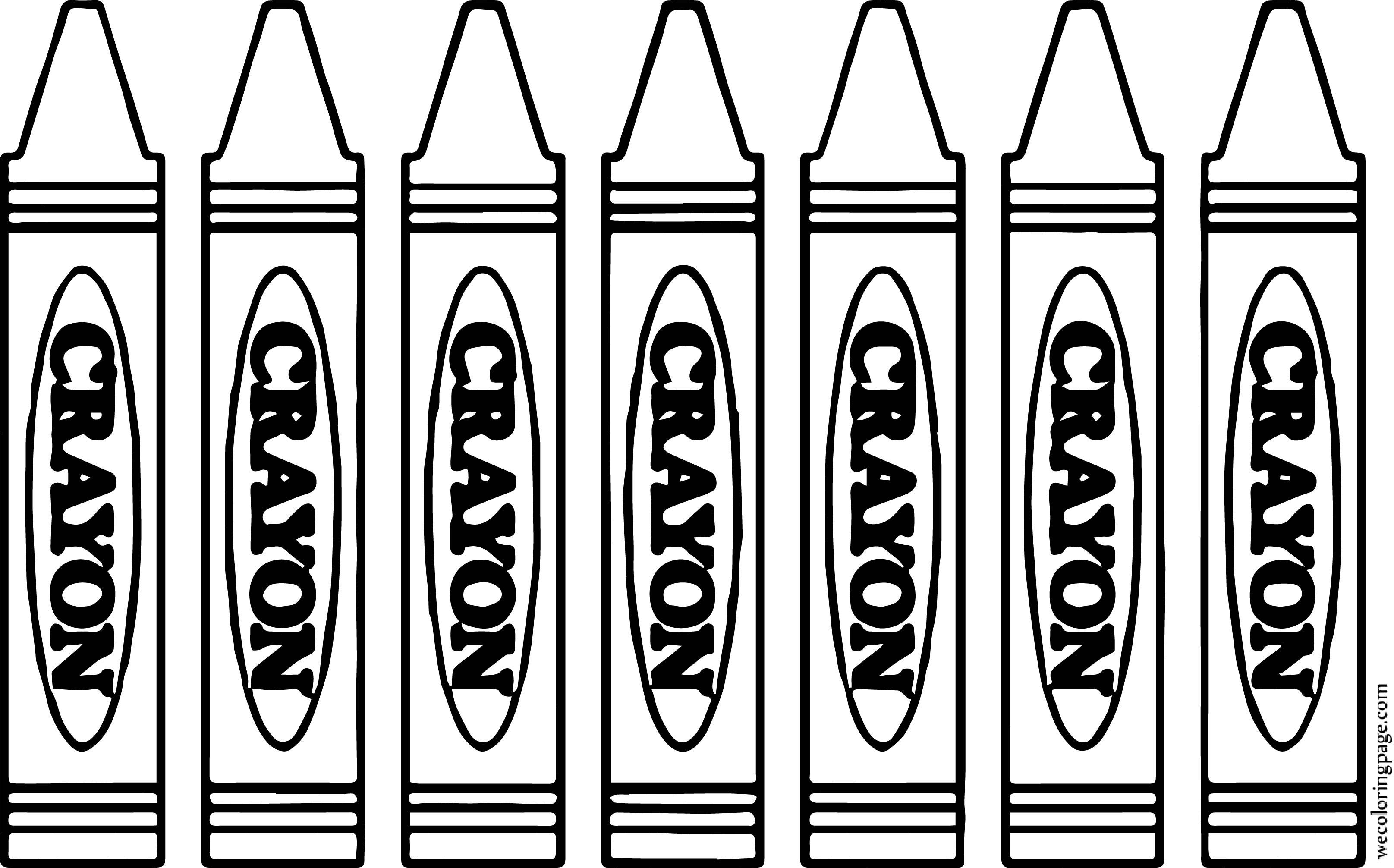 Seven Crayon Pen Coloring Page