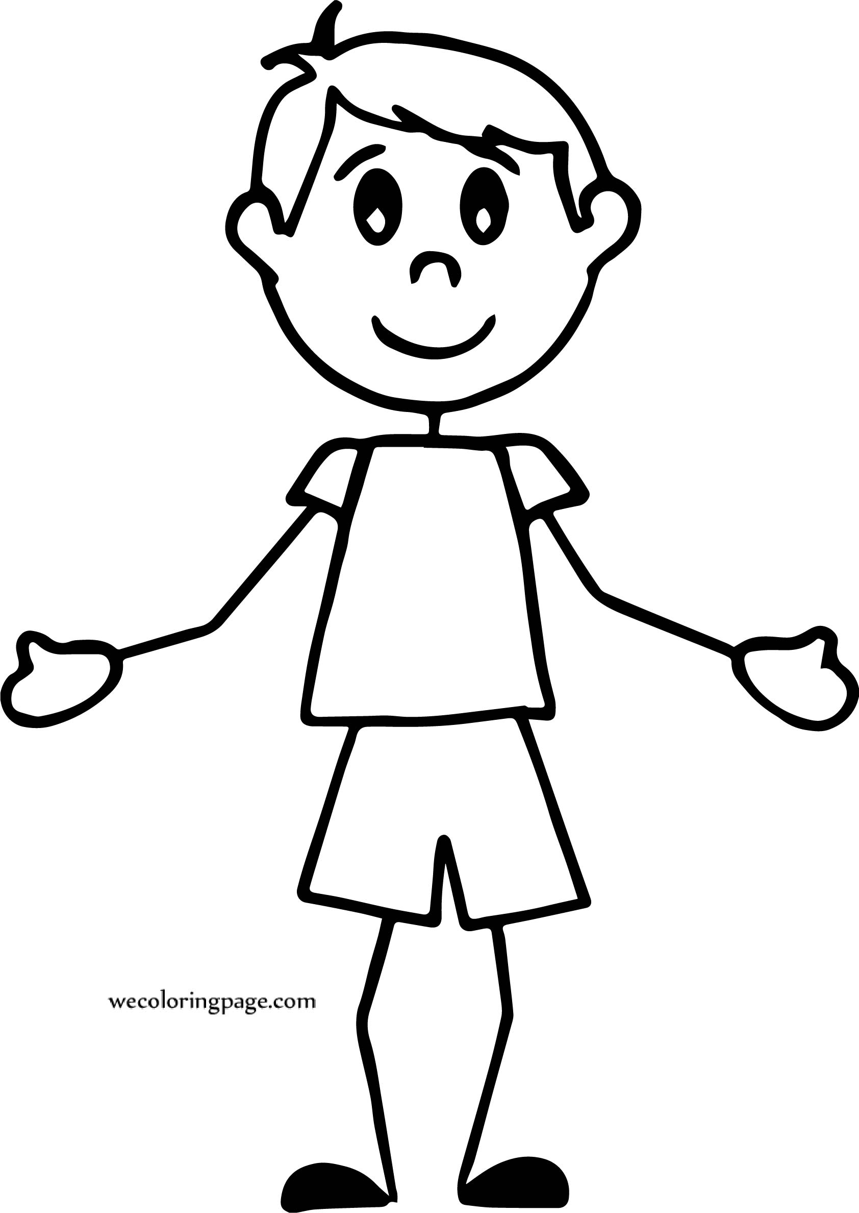Some Stick Boy Coloring Page