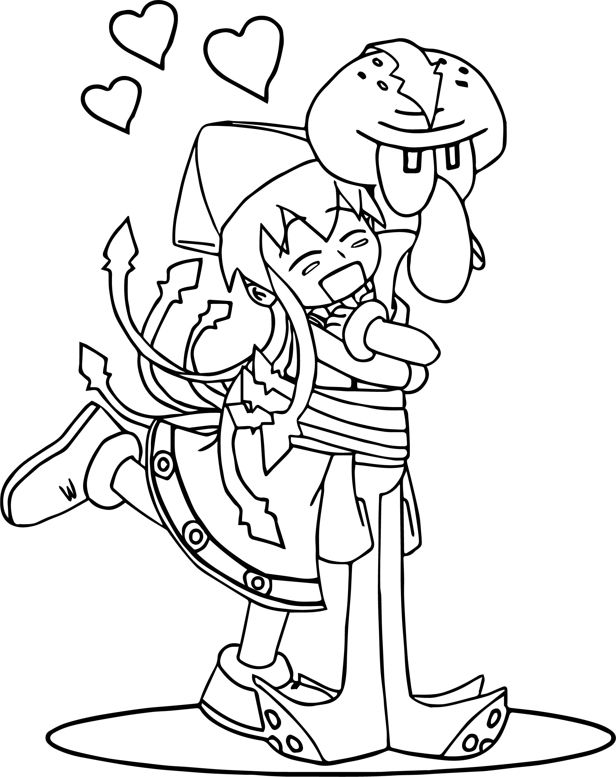 Squid Girl Love Coloring Page