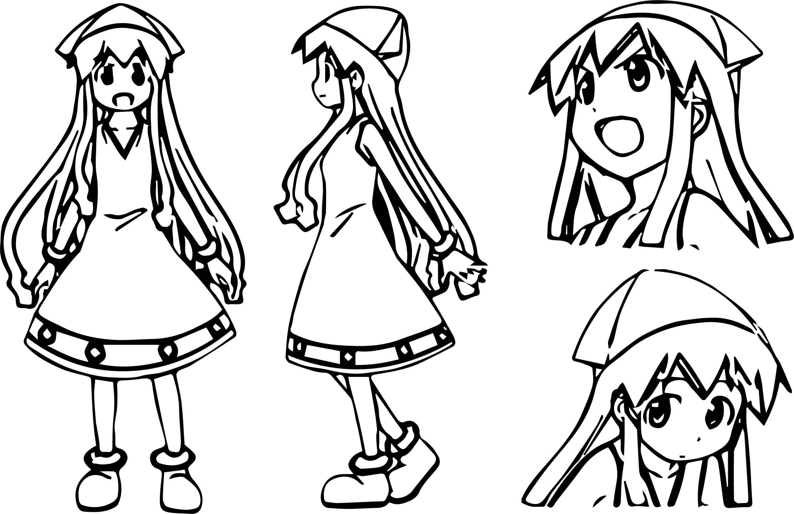 Squid Girl Poses Style Coloring Page