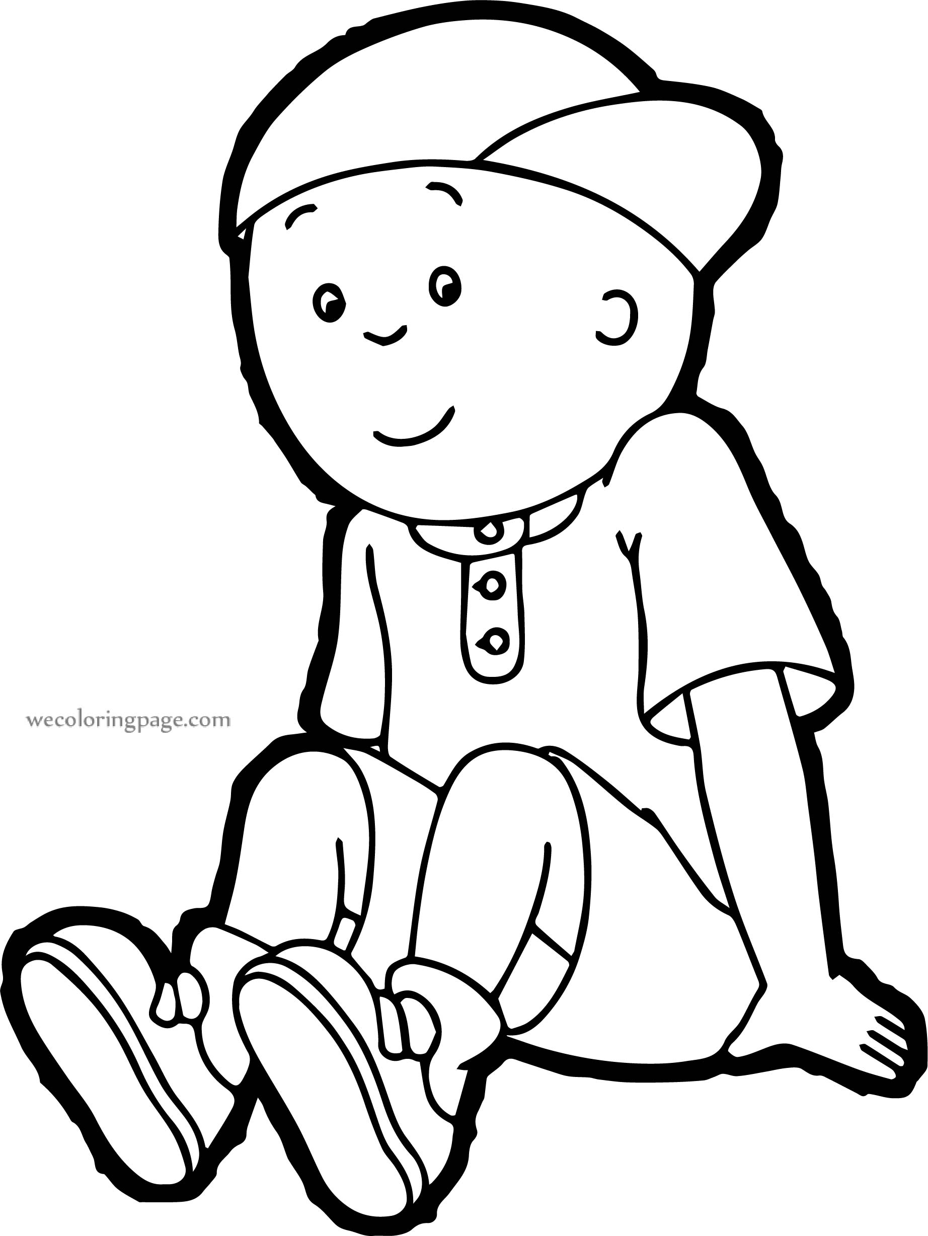 Staying Caillou Coloring Page