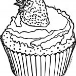 Strawberry Cupcake Black White Coloring Page
