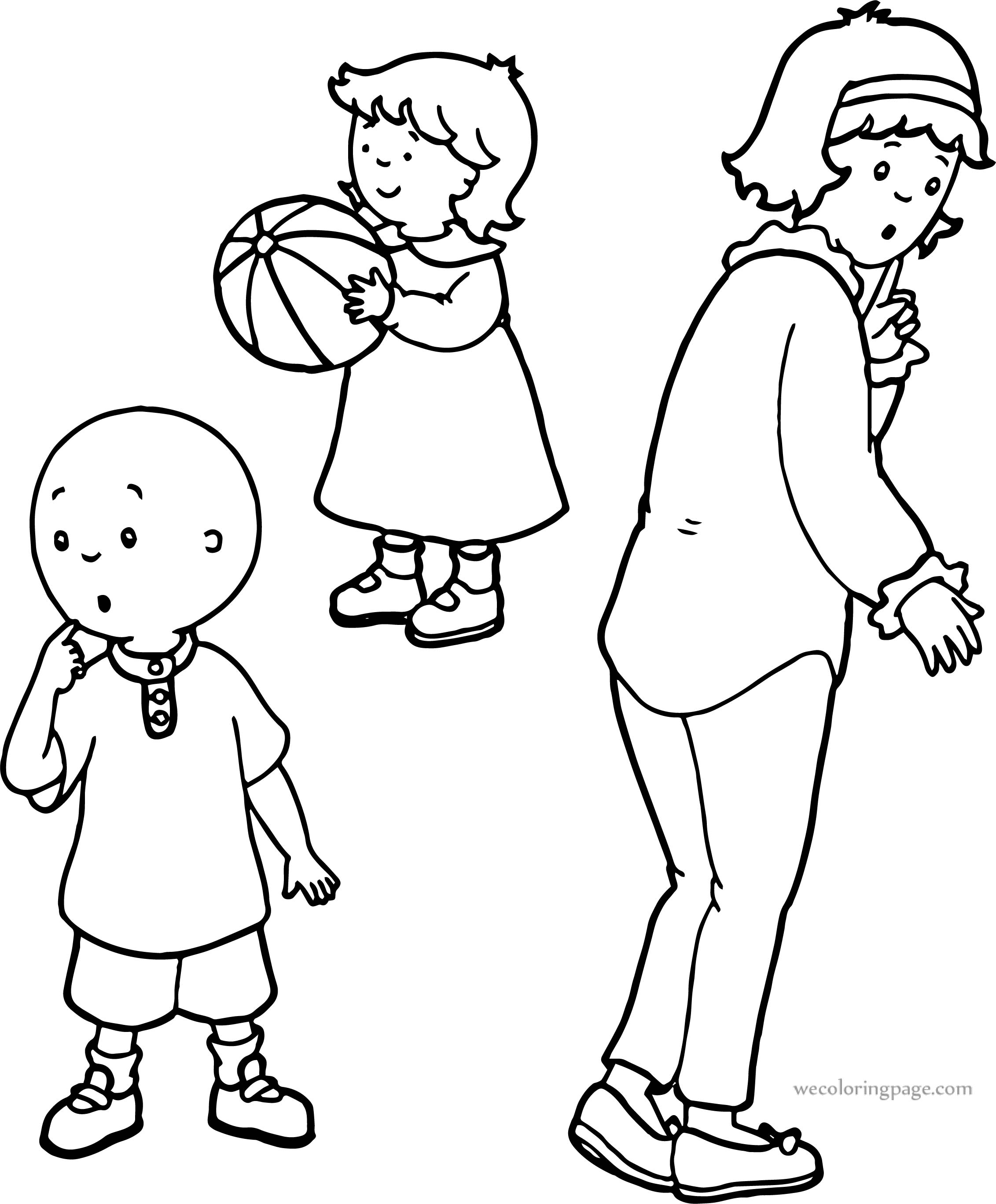 Thinking,Caillou,And,Mother,Together,Sister,Coloring,Page