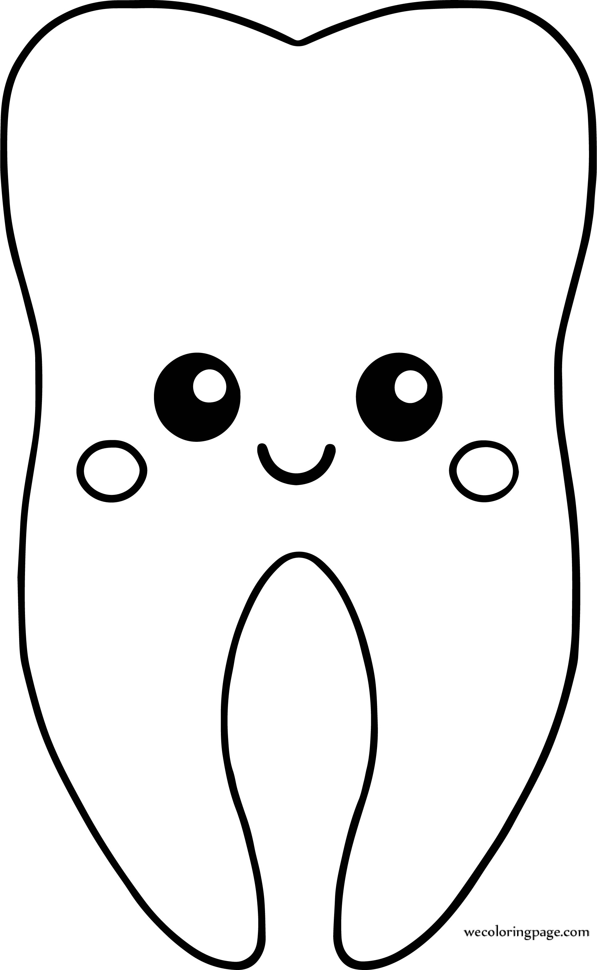 Tooth Very Cute Dental Teeth Coloring Page