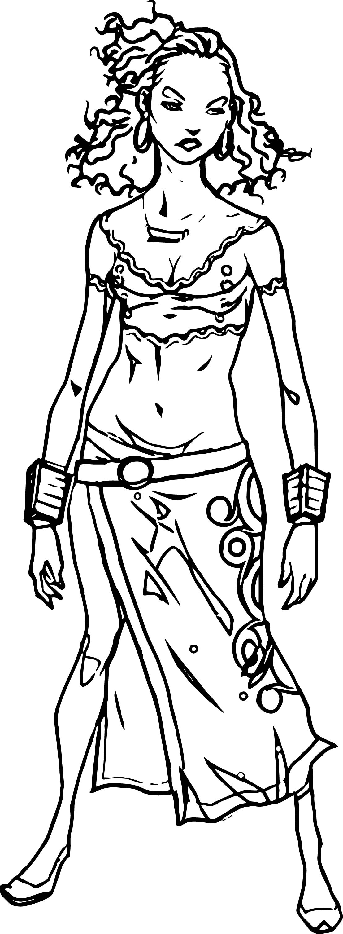 Wild Woman Characters Coloring Page