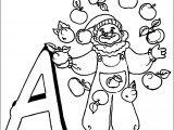 A Apple Clown A4 Printable Coloring Page