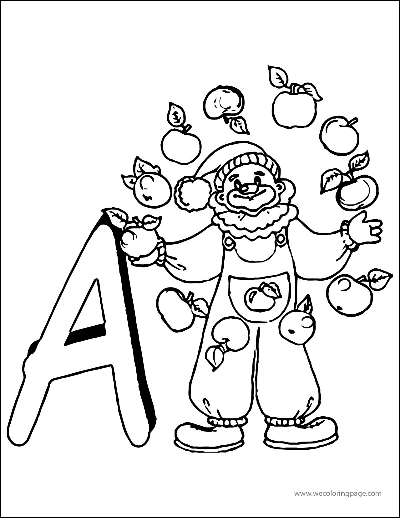 A Apple Clown A4 Printable Coloring Page | Wecoloringpage.com