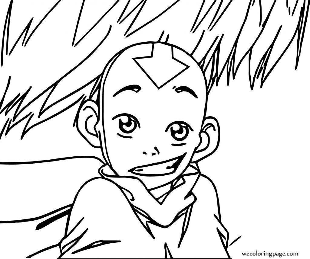 Avatar Aang Coloring Page: Aang Looking Innocent Avatar Aang Coloring Page
