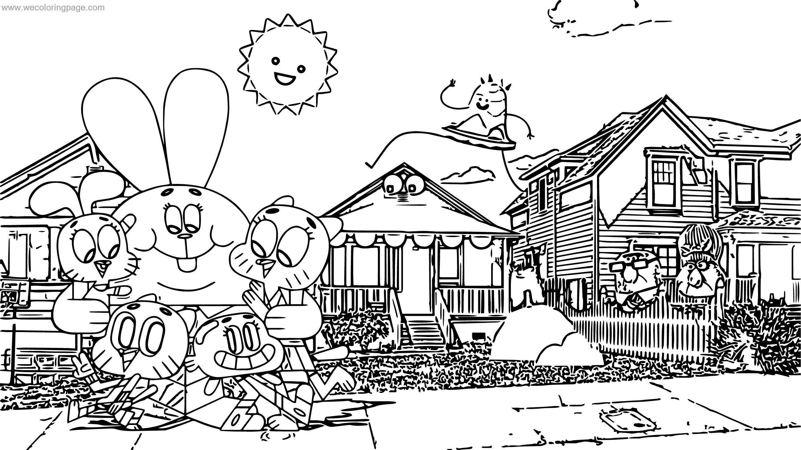 Amazing World Of Gumball Characters Coloring Page