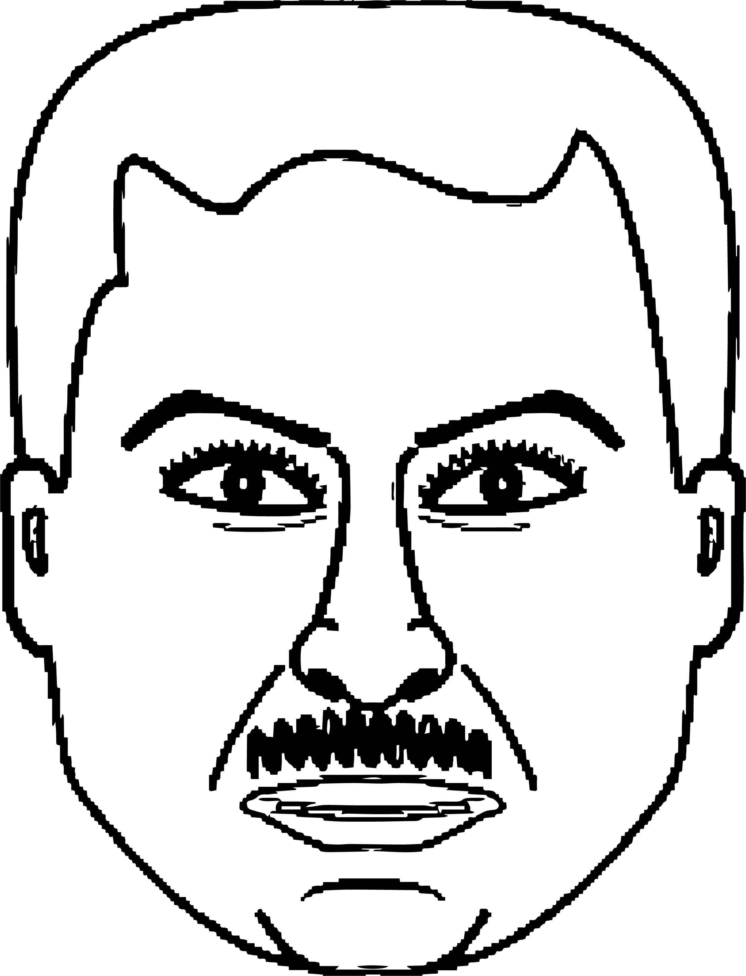 Angry Man Pixel Face Coloring Page