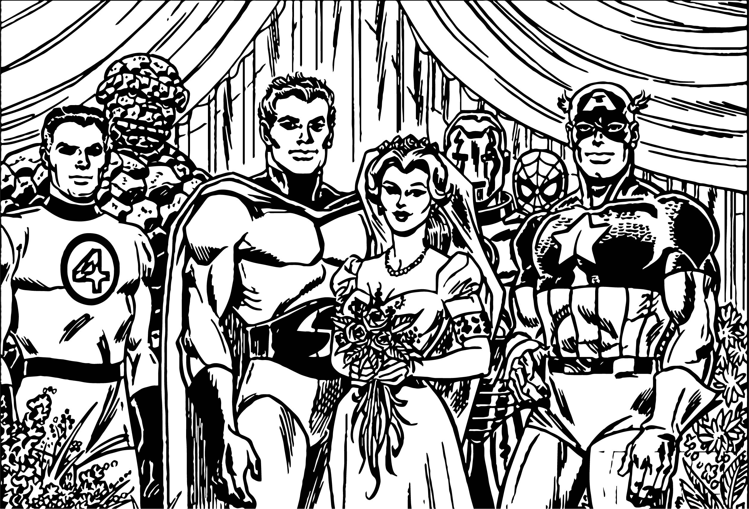 Avengers Wedding Coloring Page