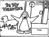 Be Valentine Club Penguin Sheet Coloring Page