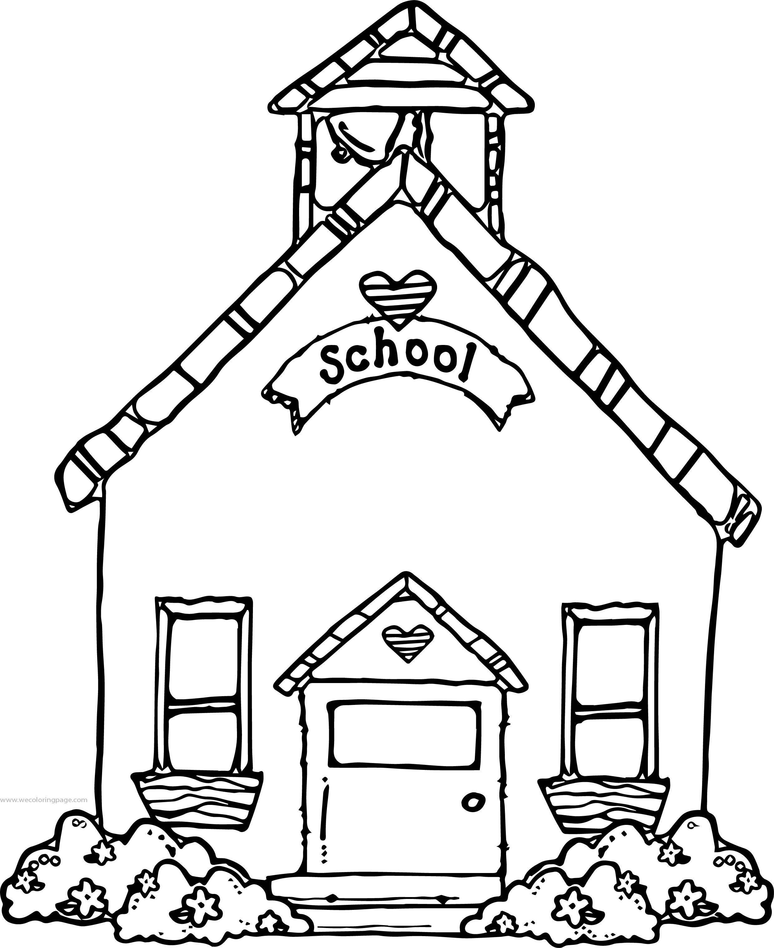 Beautiful Flower School Building Coloring Page