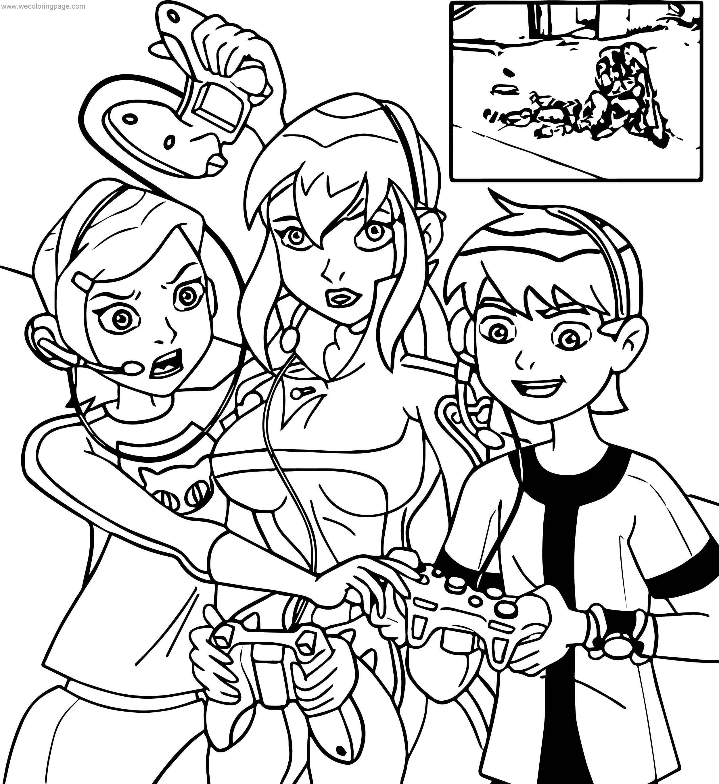 Benten Gwen Game Time Coloring Page