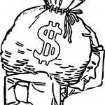 Big Bag Of Money Coloring Page Outline
