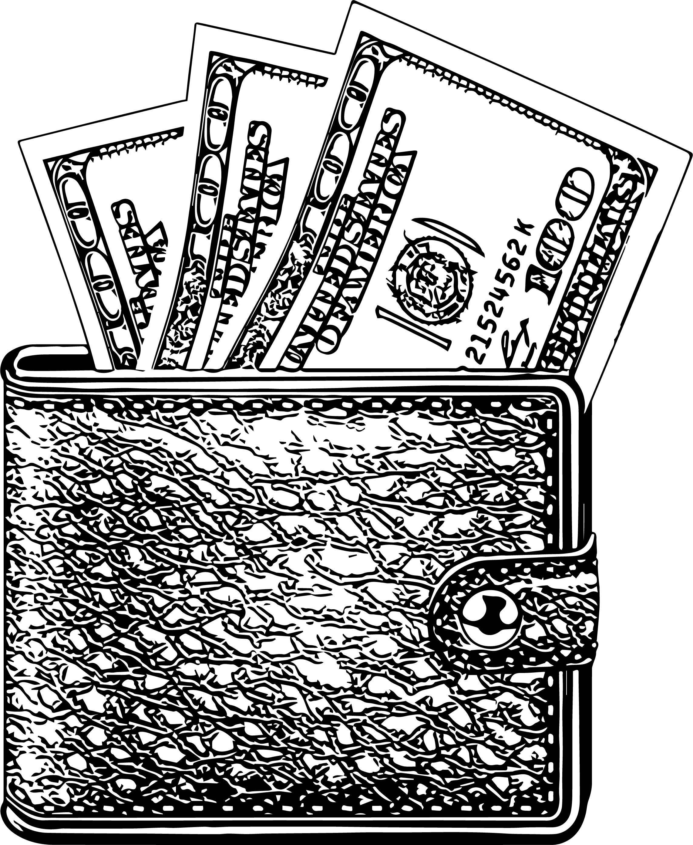Black Wallet Coloring Page
