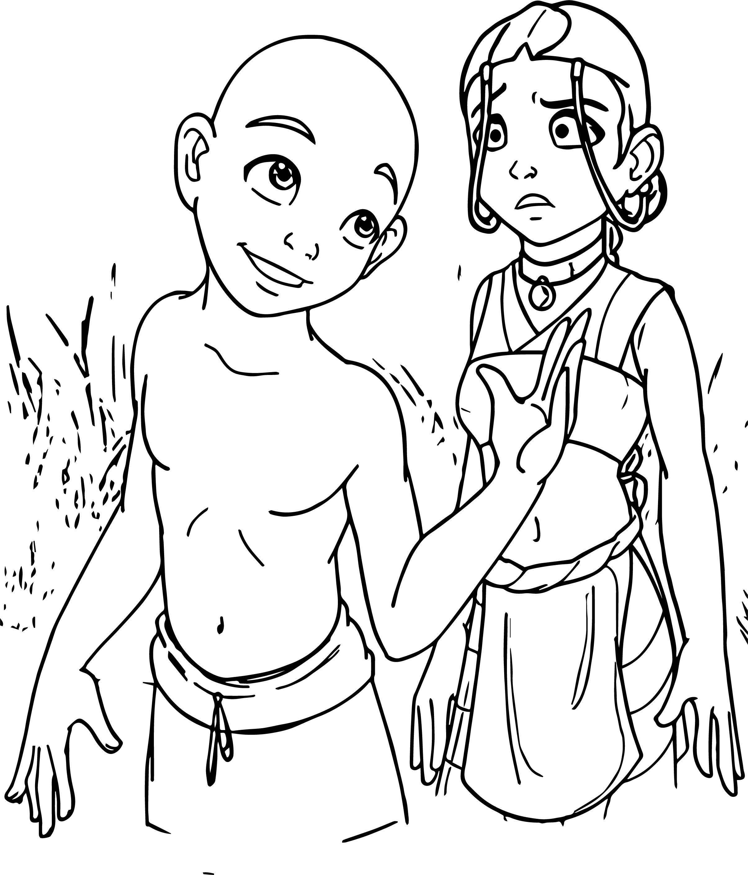 Boy Girl Avatar Aang Coloring Page