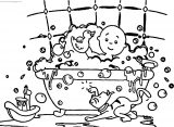 Caillou Funny Bath Time Coloring Page