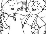Caillou Soccer Friend Coloring Page