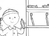 Caillou Toothpaste Coloring Page