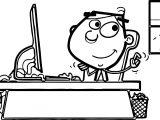 Cartoon Boy Computer Engineer Coloring Page