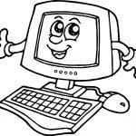 Cartoon Computer Engineer Coloring Page