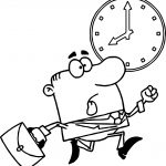 Cartoon Man Running Clock Coloring Page