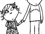 Charlie And Lola Holding Hand Coloring Page