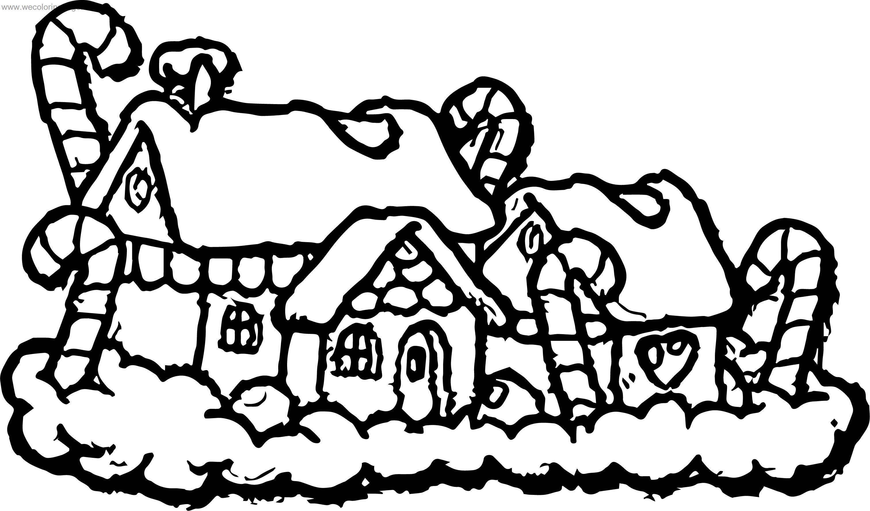Chrismas Gingerbread House Coloring Page | Wecoloringpage.com