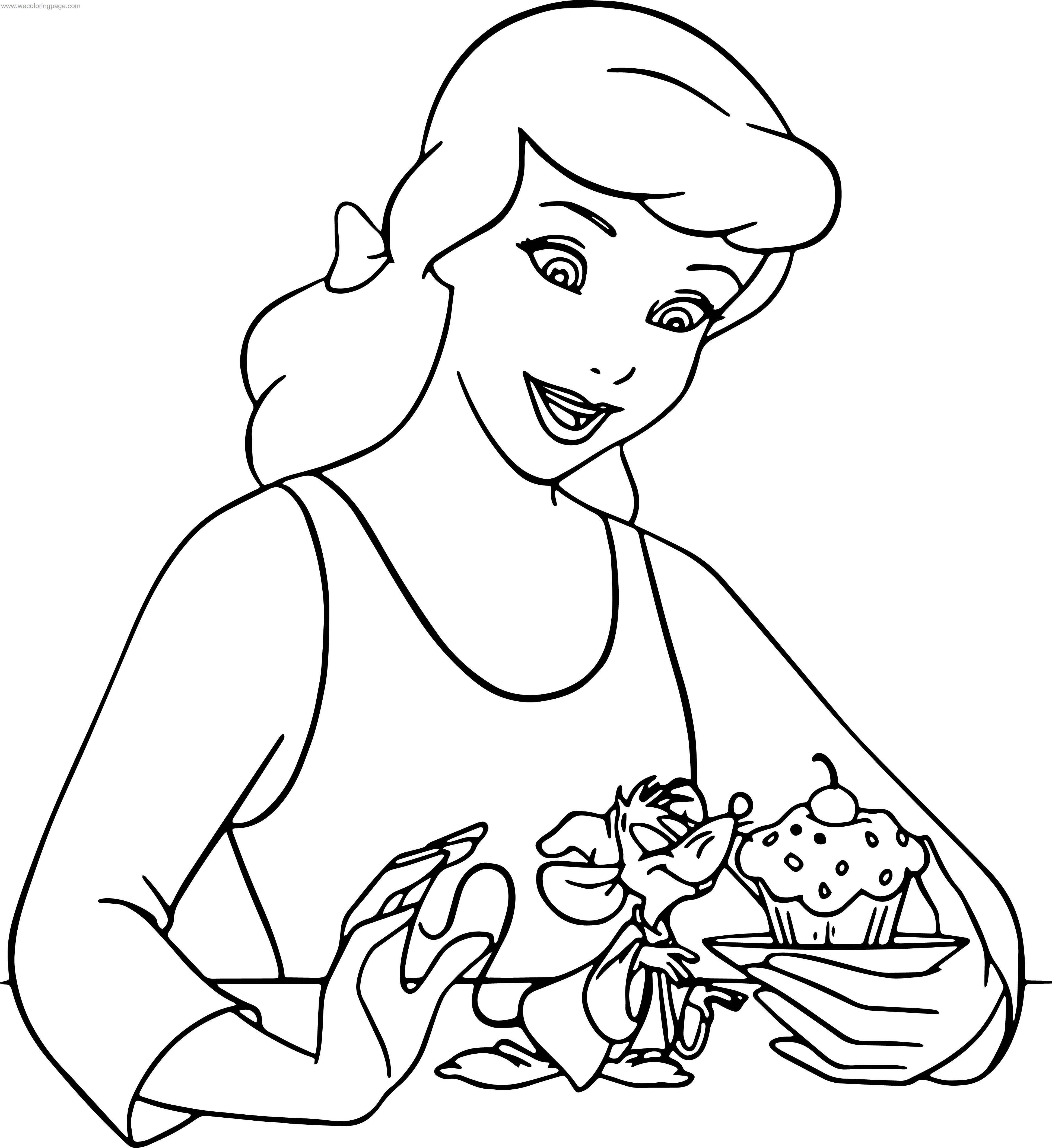 cinderella mice and birds cupcake coloring pages