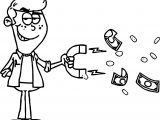 Clip Art Image Of A Mischievous Looking Man Pulling Money With A Magnet Coloring Page
