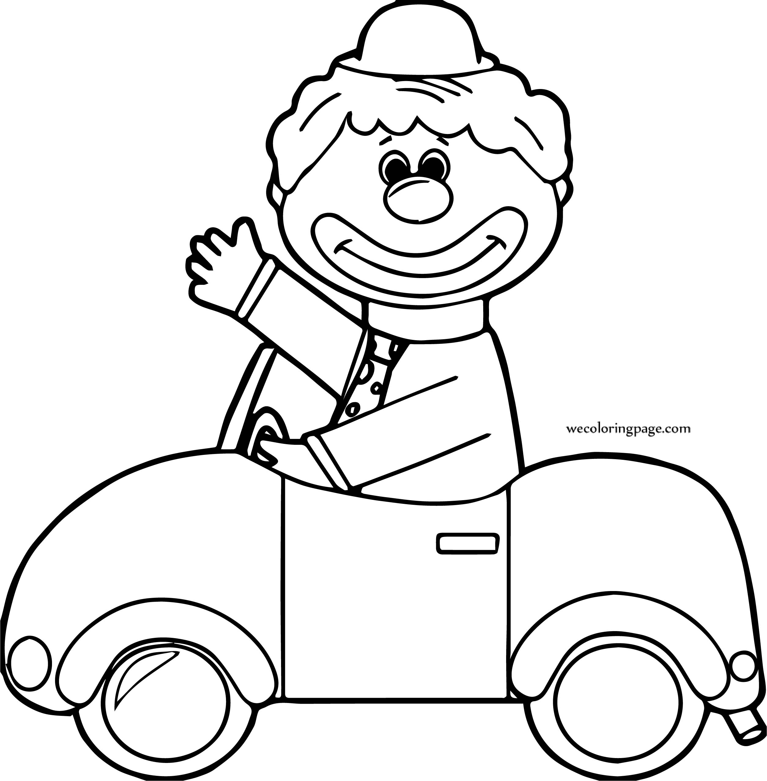Clown Riding Car Coloring Page | Wecoloringpage.com