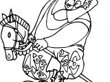 Clown Riding Horse Toy Coloring Page
