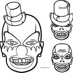 Clown Scream Skull Coloring Page