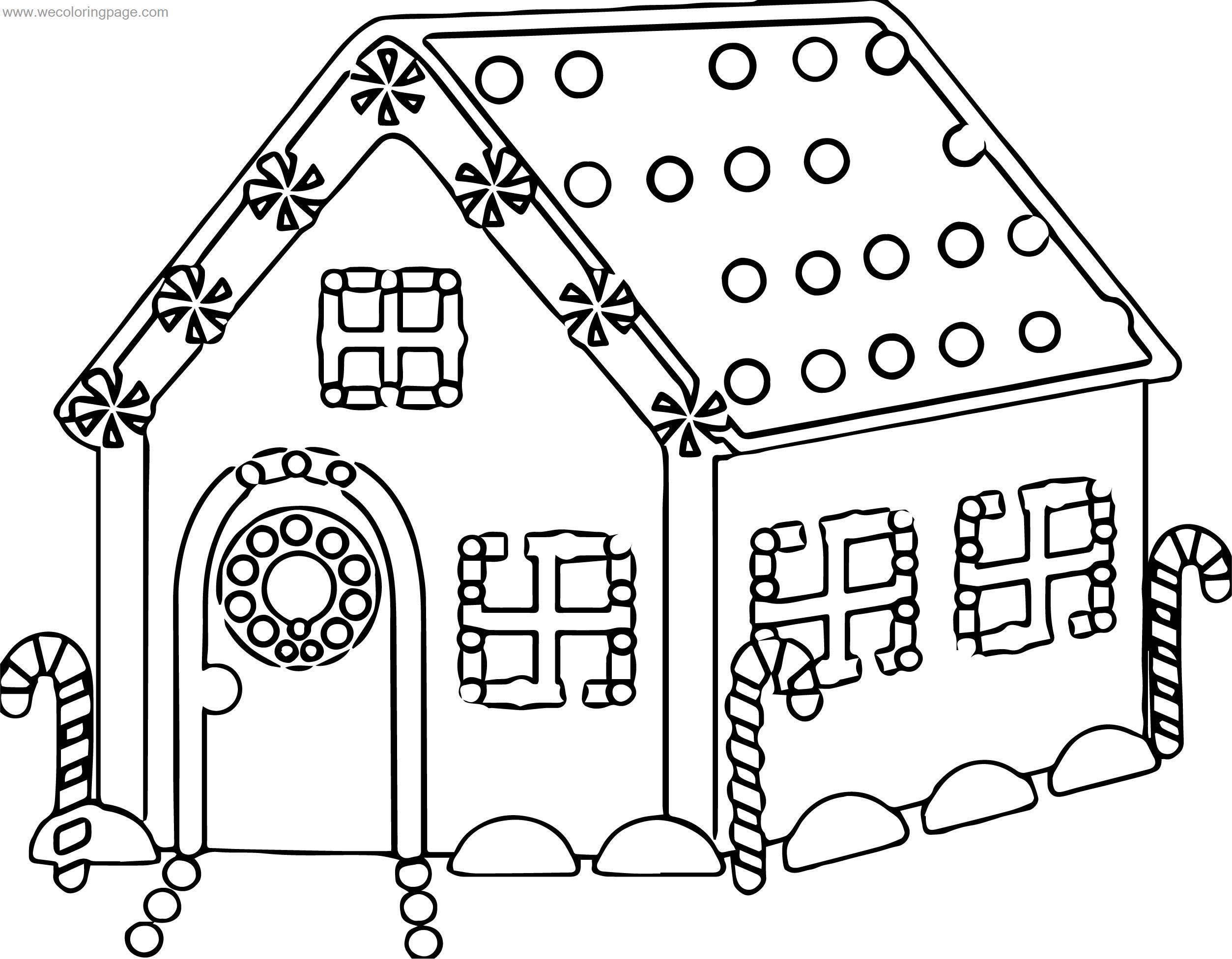 Cute House Gingerbread House Coloring Page ...