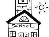 Cute School Building Coloring Page