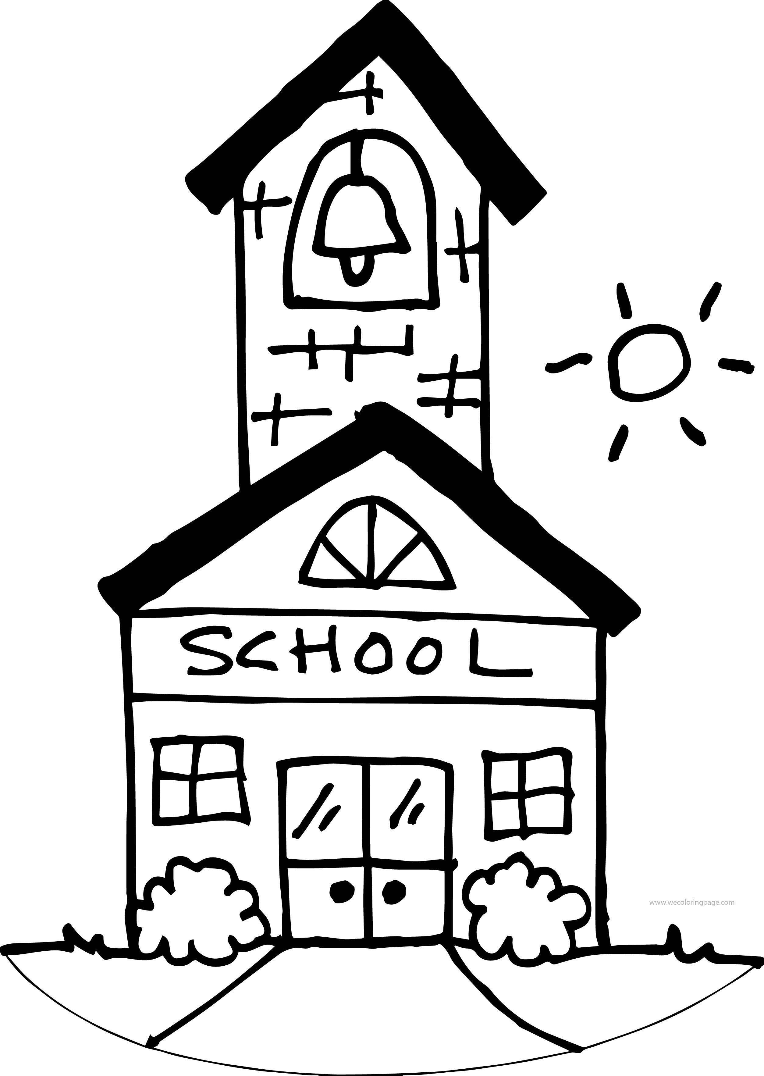 Cute School Building Coloring Page