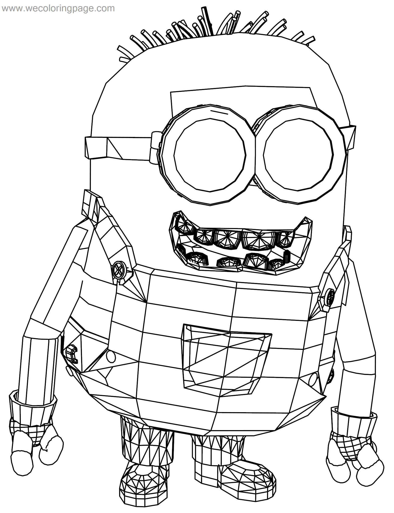 Despicable Me Minion Crazy Bob Robot Coloring Page