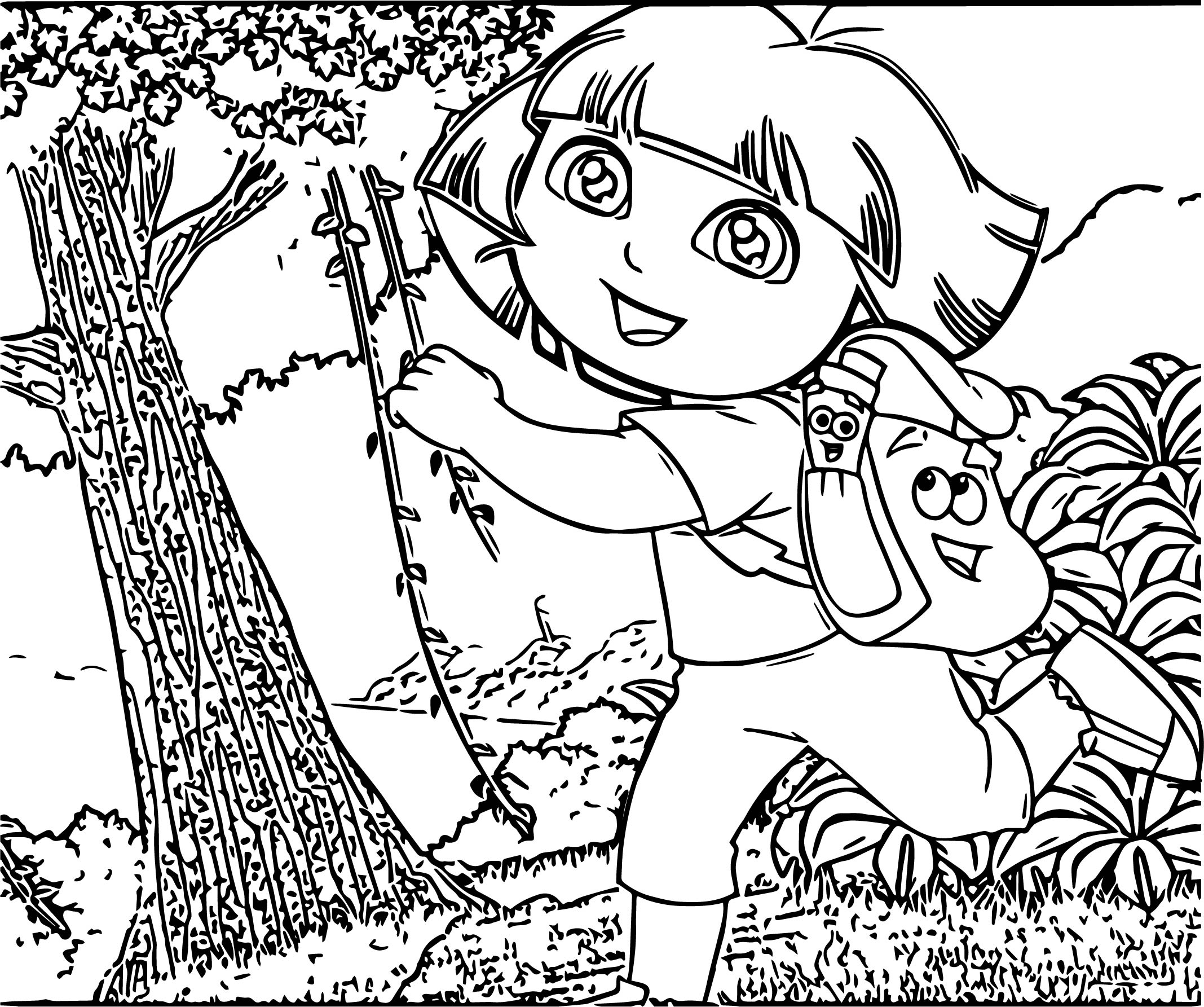 Dora The Explorer Run In Forest Coloring Page