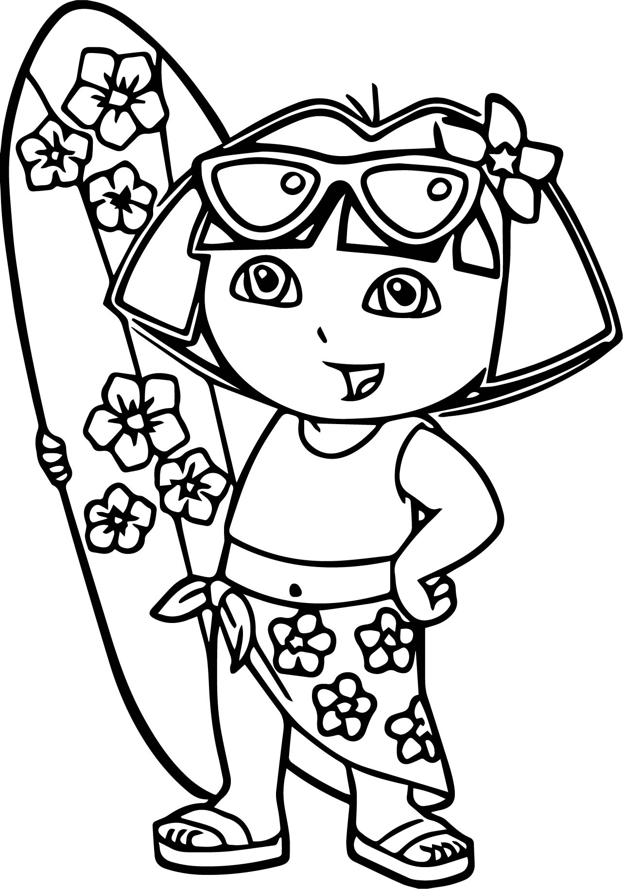 Dora The Explorer Surf Coloring Page