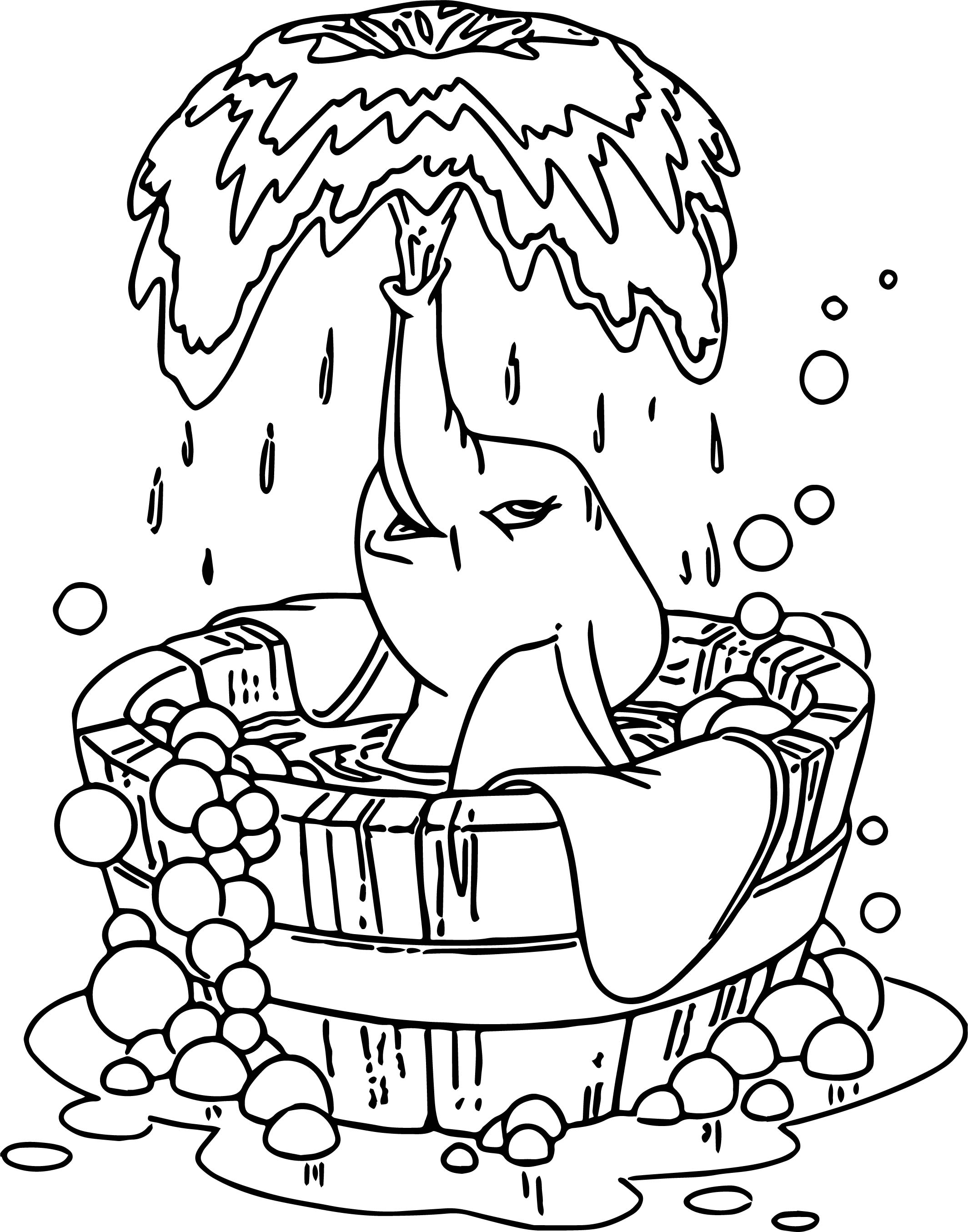 Dumbo Bath Coloring Pages