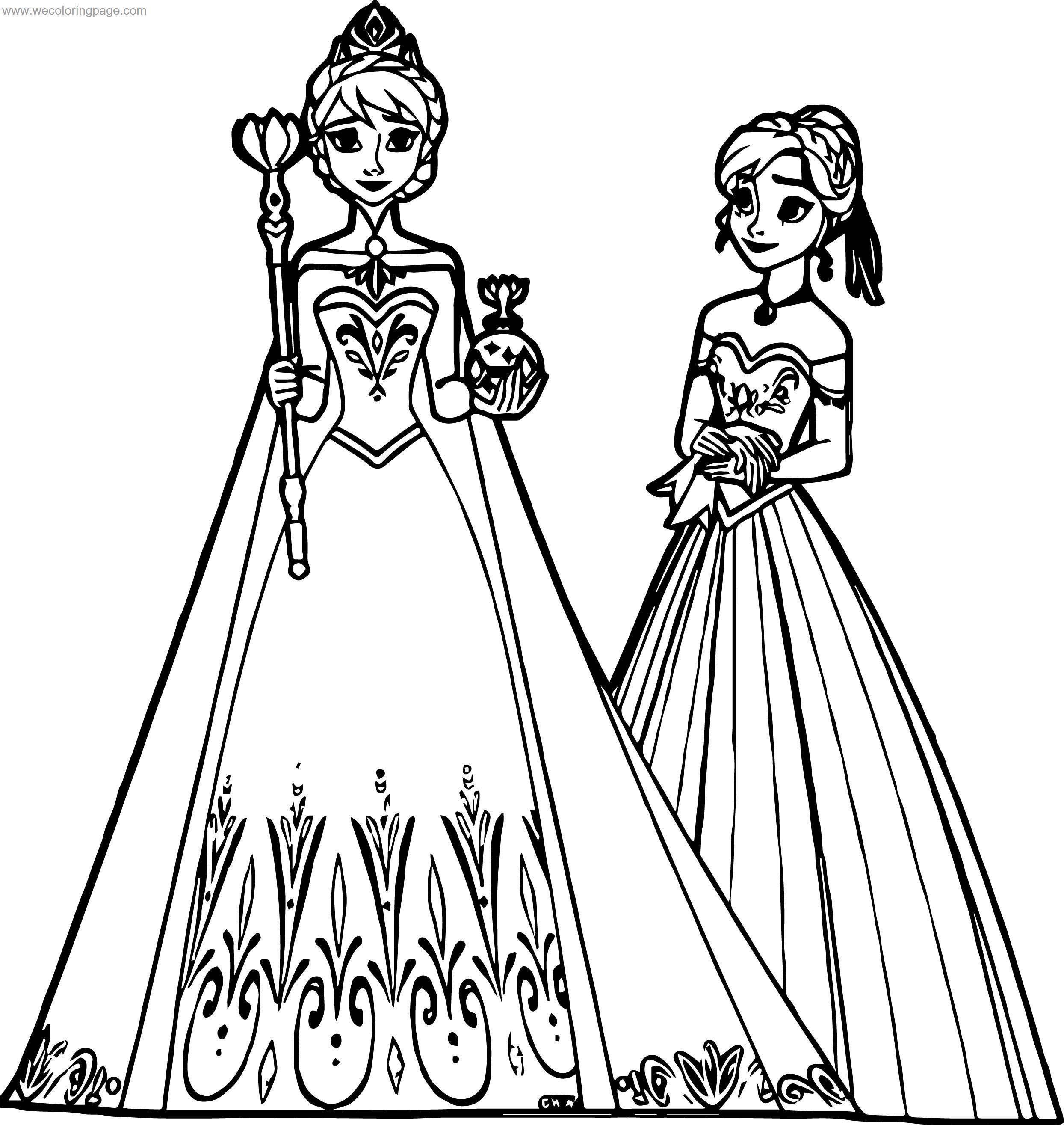 Elsa Anna Coronation Coloring Page