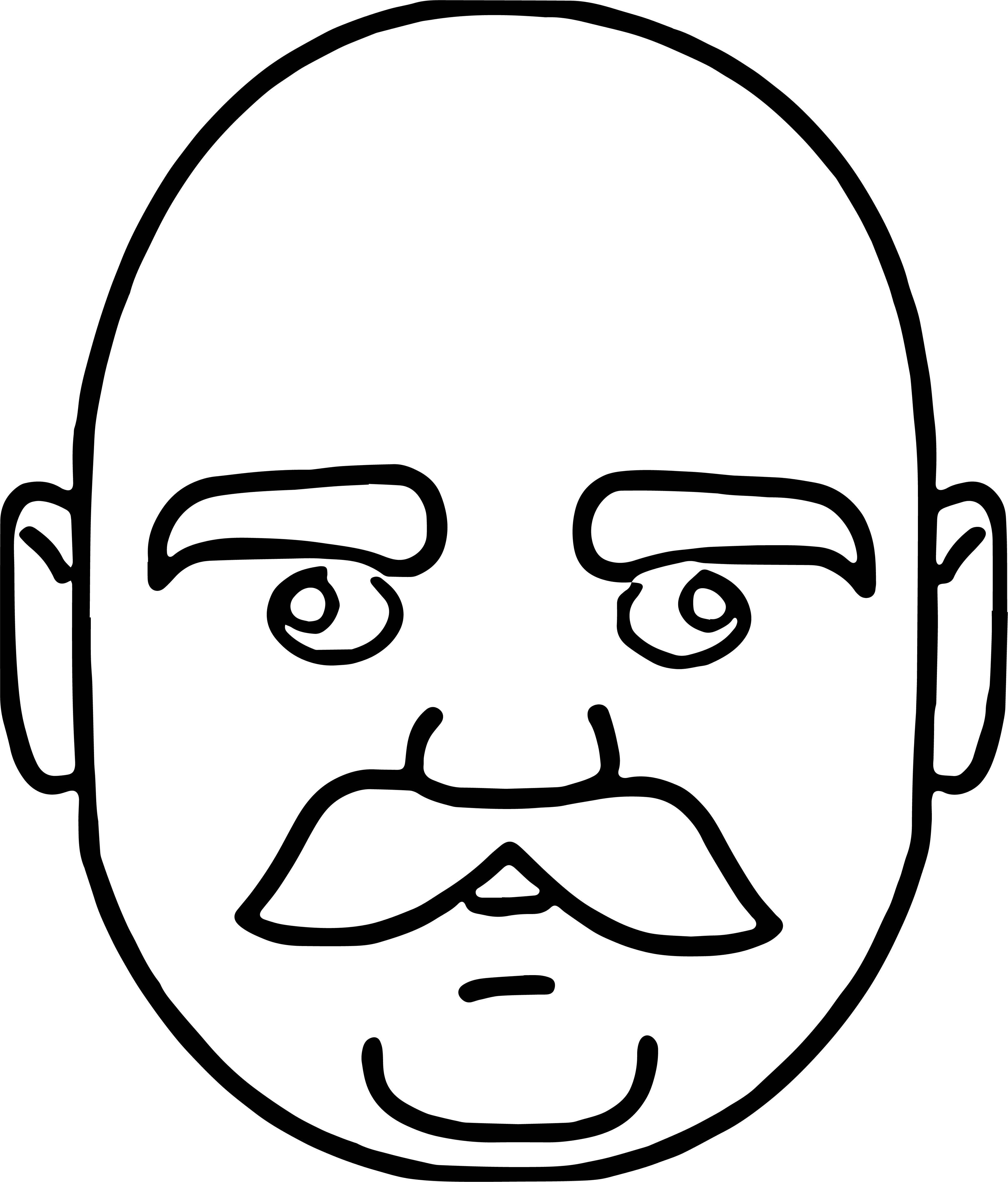 Face Of Bald Headed Man With Mustache Just Coloring Page