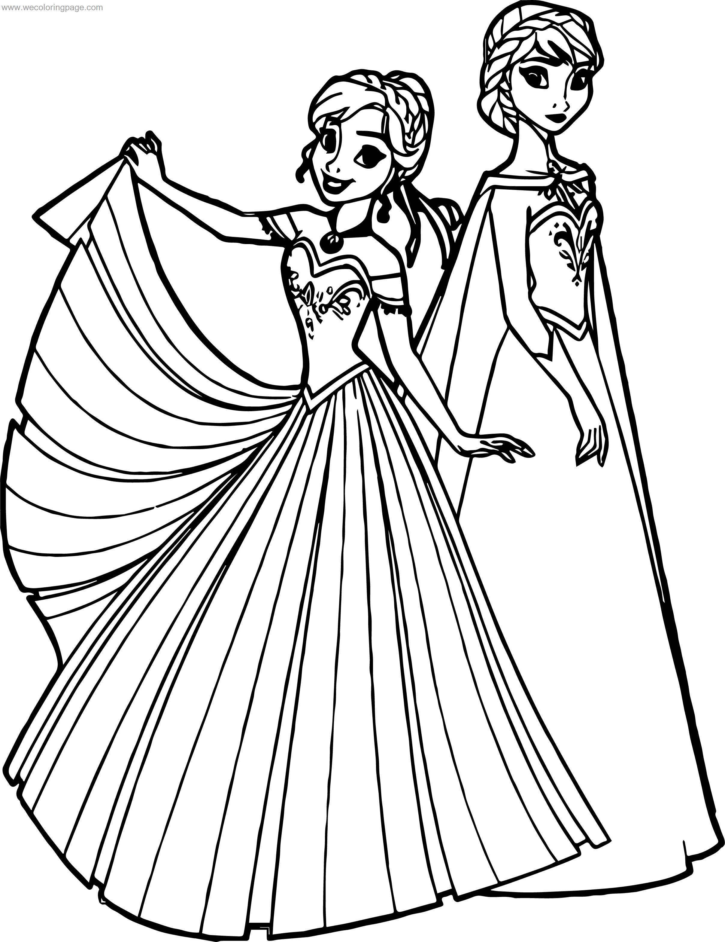 Frozen Anna Elsa Together Coloring Page